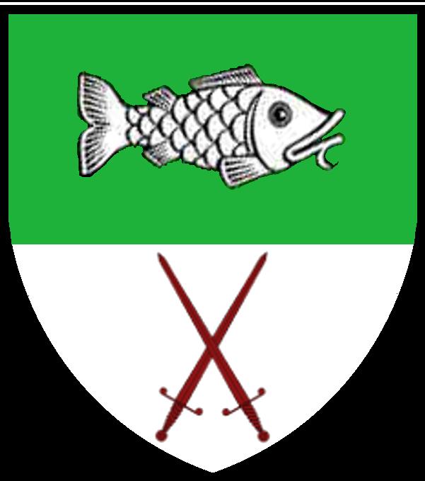 Schwimmender silberner Barsch auf grünem Feld über gekreuzten roten Klingen auf silbernem Feld